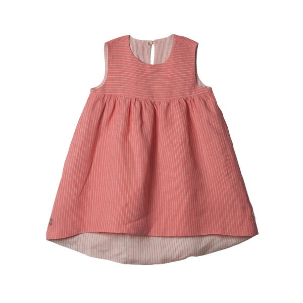 Reversible Linen Hi-Lo Dress in Peach & Ivory - Side 02