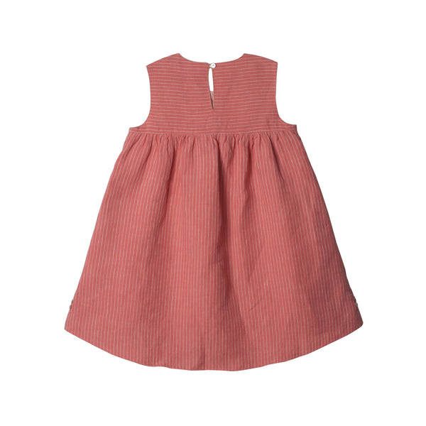 Reversible Linen Hi-Lo Dress in Peach & Ivory - back of side 02