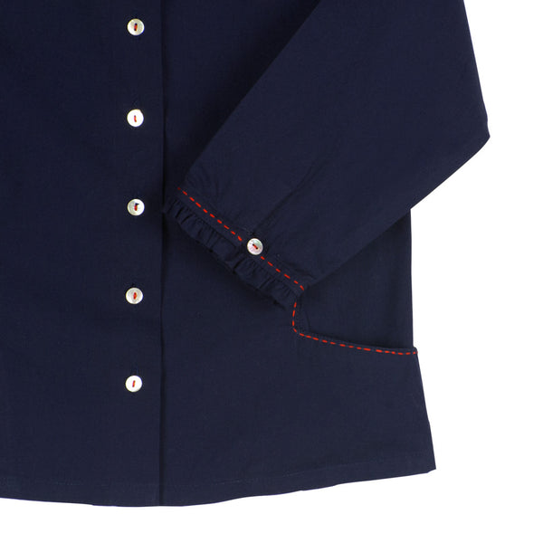 Girls' Ruffle Collar Blouse in Navy with Pockets