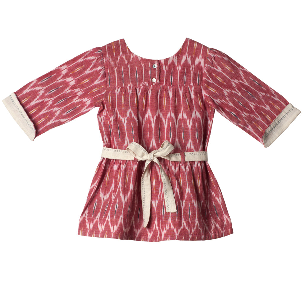Belted Dress - Carrot Ikat & Ivory