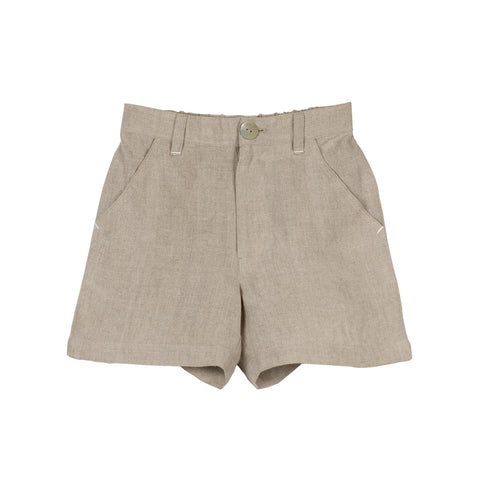 Beige Linen Boys' Shorts with Zipper Front