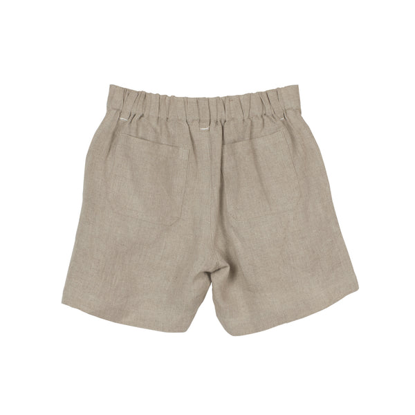 Beige Linen Boys' Shorts with Elastic Back
