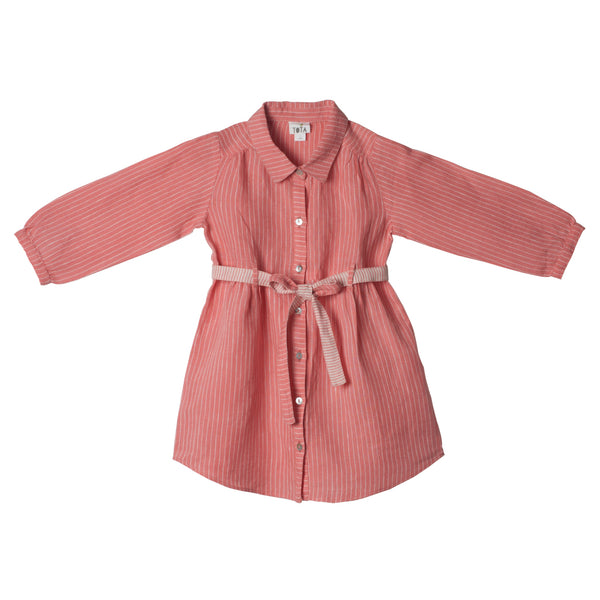 Belted Shirt Dress in Peach Linen with Button-down Front