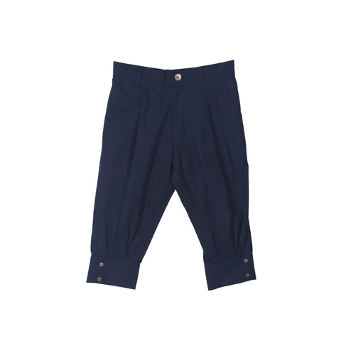 Unisex Capris in Navy with Zipper front & elastic back