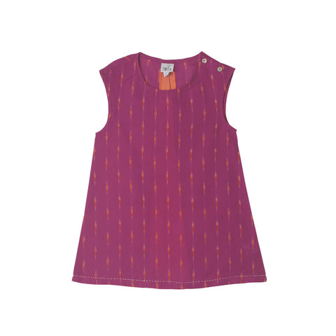 Sleeveless Magenta Ikat dress with Orange shot slit in the back