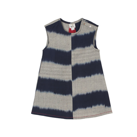 Sleeveless Indigo & Grey Striped Ikat dress