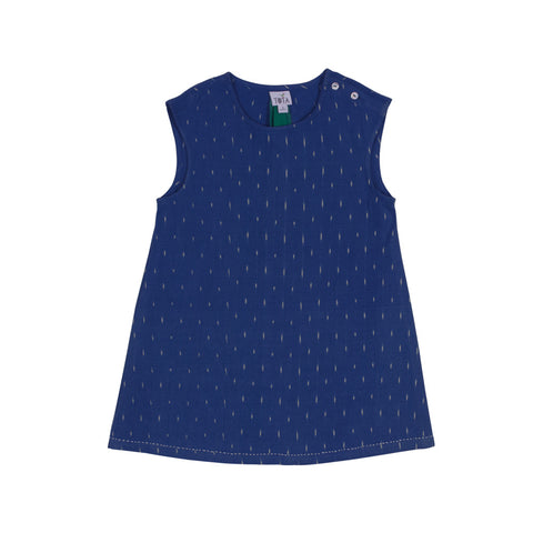 Sleeveless Cobalt Ikat Dress with Shoulder Buttons