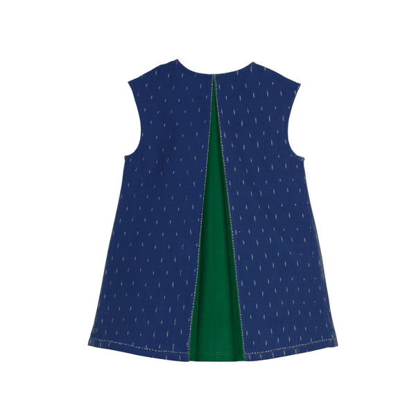 Sleeveless Cobalt Ikat Dress with Emerald Back Slit