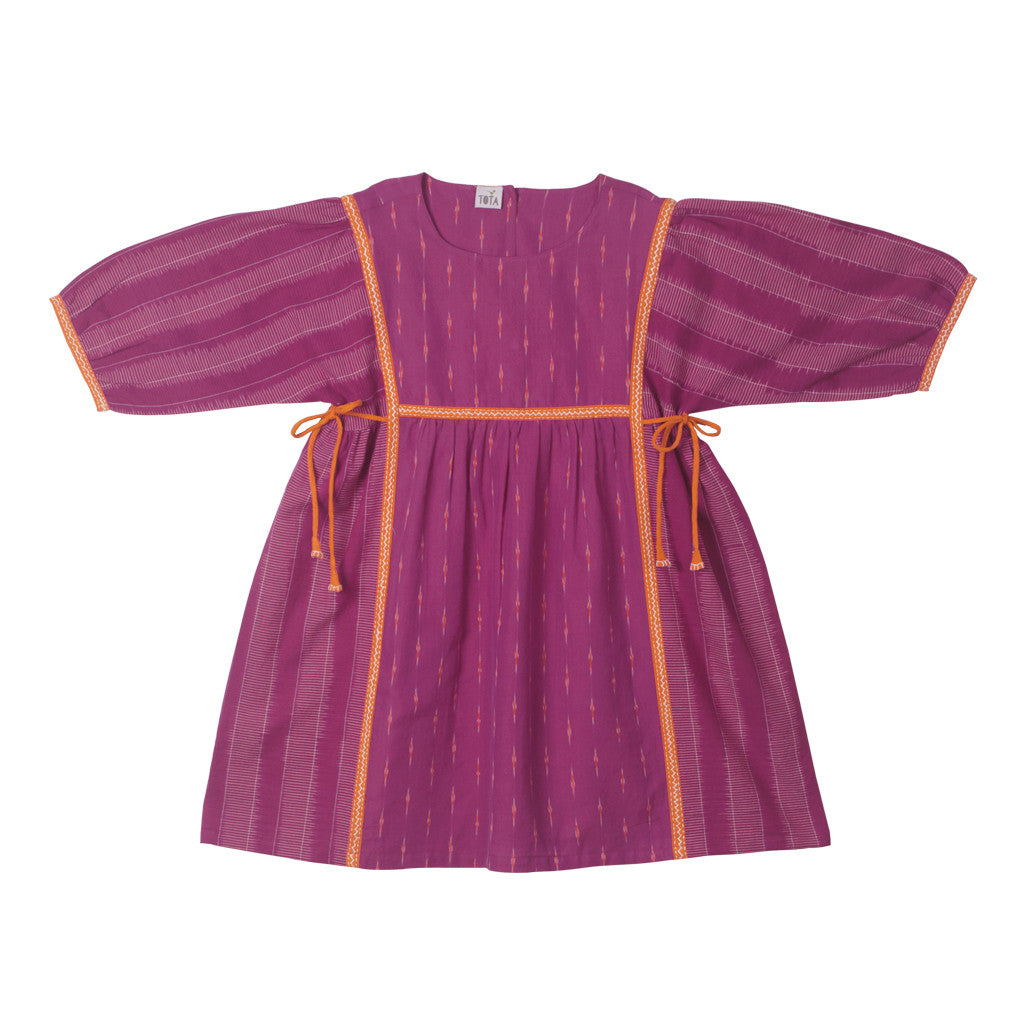 Magenta Ikat Peasant Dress with Hand Embroidery and side ties