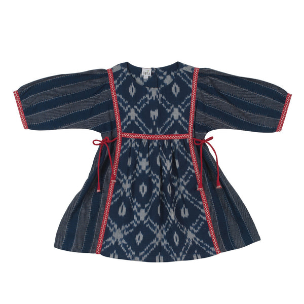 Indigo Ikat Peasant Dress with Embroidered Detail on Joints & Ties