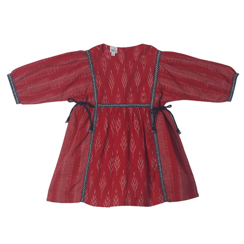 Red Ikat Peasant Dress with Hand Embroidery