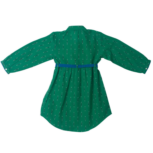 Collared Belted Shirt Dress in Emerald Ikat