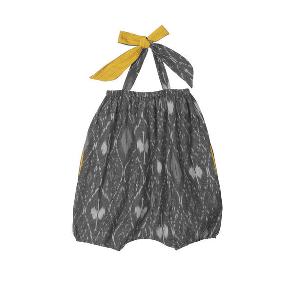 Grey Ikat Yellow Halter Romper for Girls