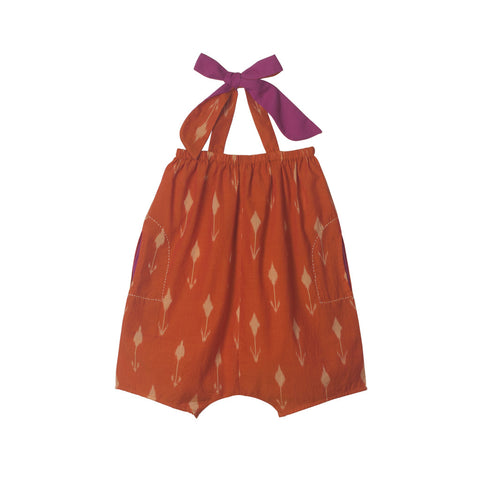 Halter Romper in Orange Tulip Ikat with Embroidered Pockets