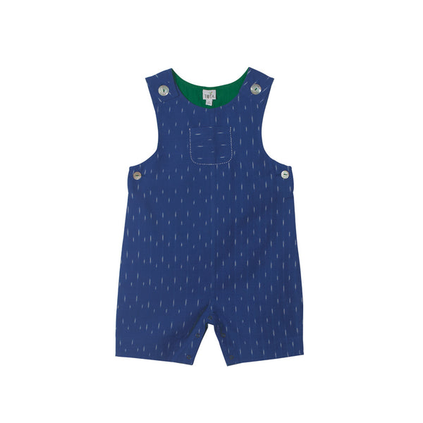 Romper Shorts in bright Cobalt Ikat with Emerald Green
