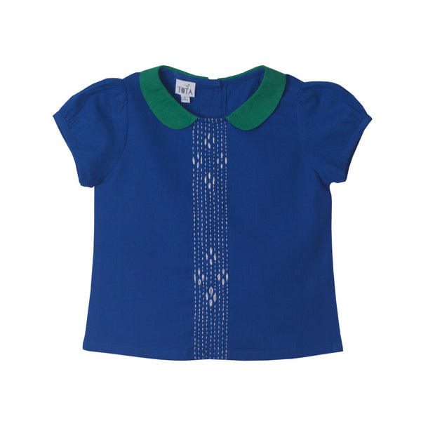 Peter Pan Embroidered Blouse in Cobalt and Emerald