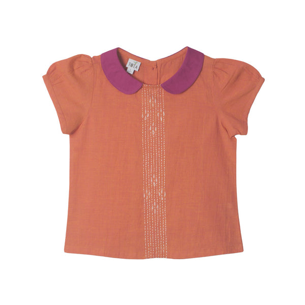 Peter Pan Hand Embroidered Blouse in Orange & Magenta