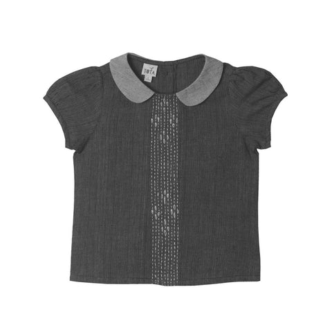 Peter Pan Embroidered Blouse in Charcoal & Ash Greys