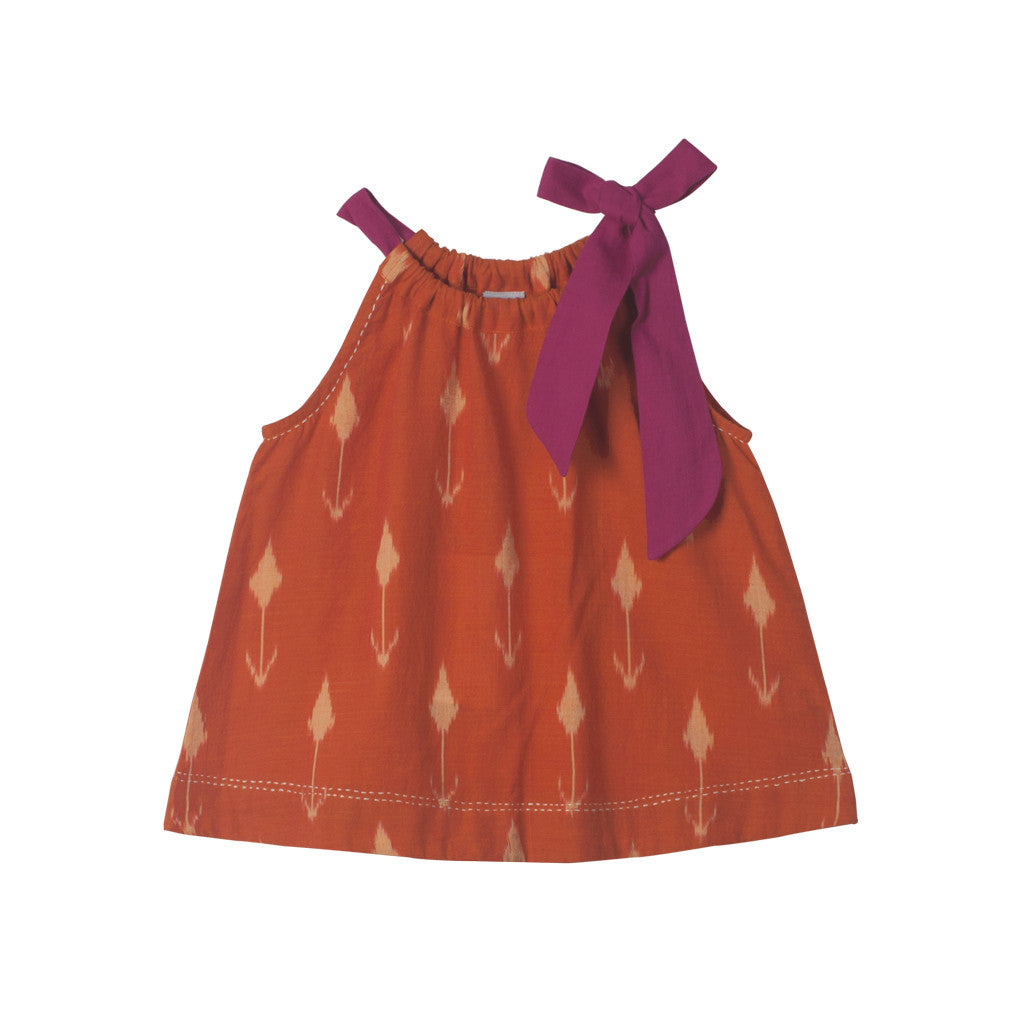 Orange Tulip Ikat Top with Magenta Neck Tie