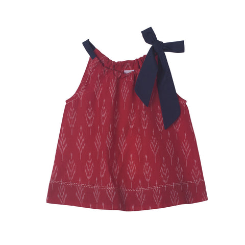 Red Ikat top with Navy Neck Tie