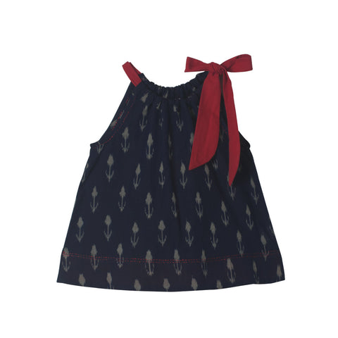 Navy Tulip Ikat top with Red Neck Tie