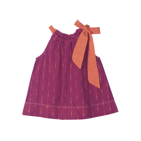 Magenta Ikat Top with Orange Neck Tie