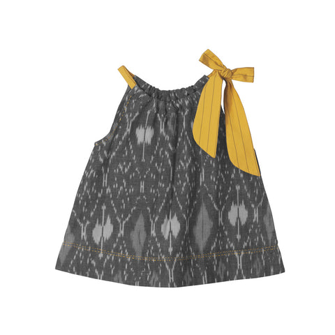 Grey Allover Ikat top with Striped Yellow Neck Tie