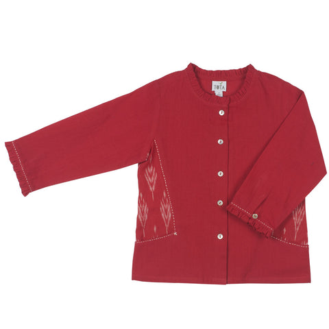 Red Ruffle Collar Blouse with Embroidered Ikat Side Pockets