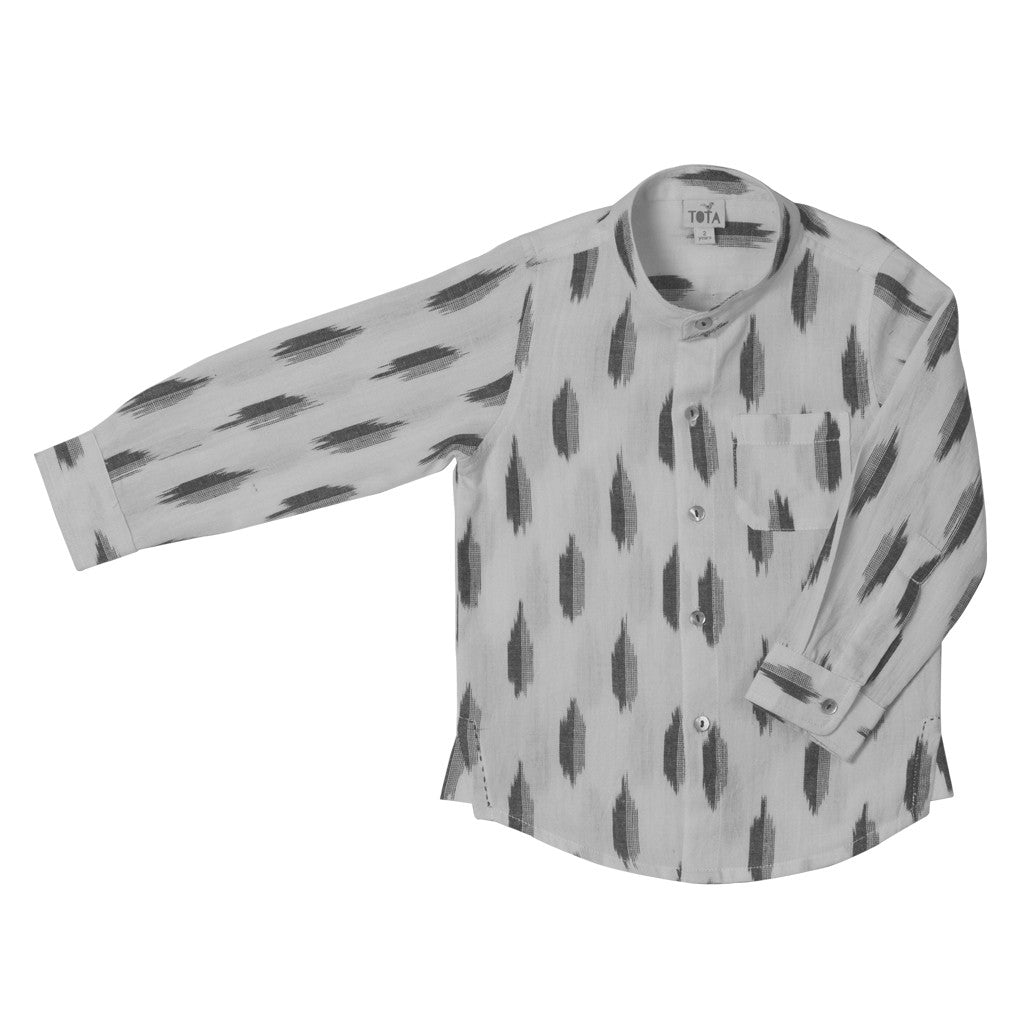 Chinese Collar Shirt in White & Grey Ikat