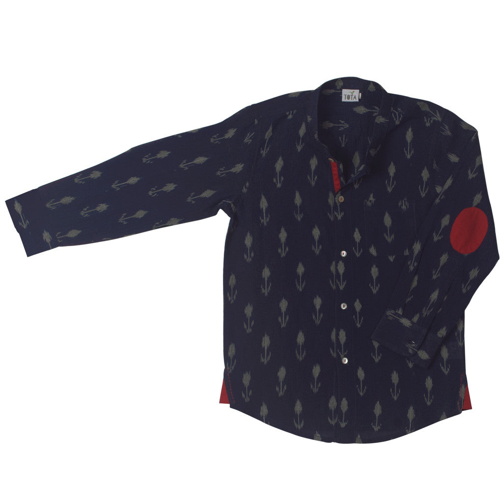 Chinese Collar Shirt in Indigo Tulip Ikat with Red Elbow Patches