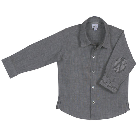 Grey Houndstooth Boys' Collar Shirt with Ikat Elbow Patches and Embroidery Detail