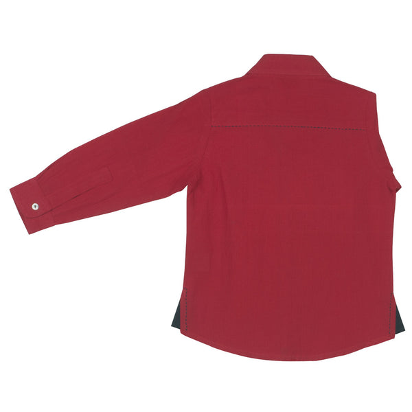 Red Boys' Shirt with Navy Detail and hand embroidery
