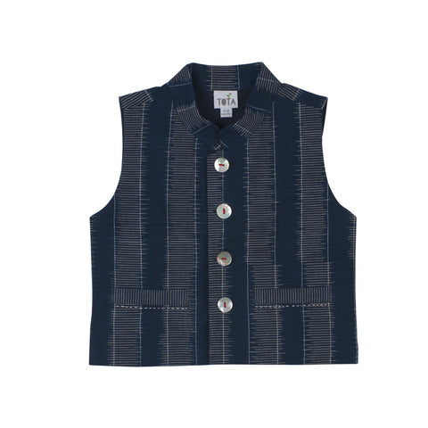 Indigo Striped Ikat Nehru Jacket with Embroidered Pockets