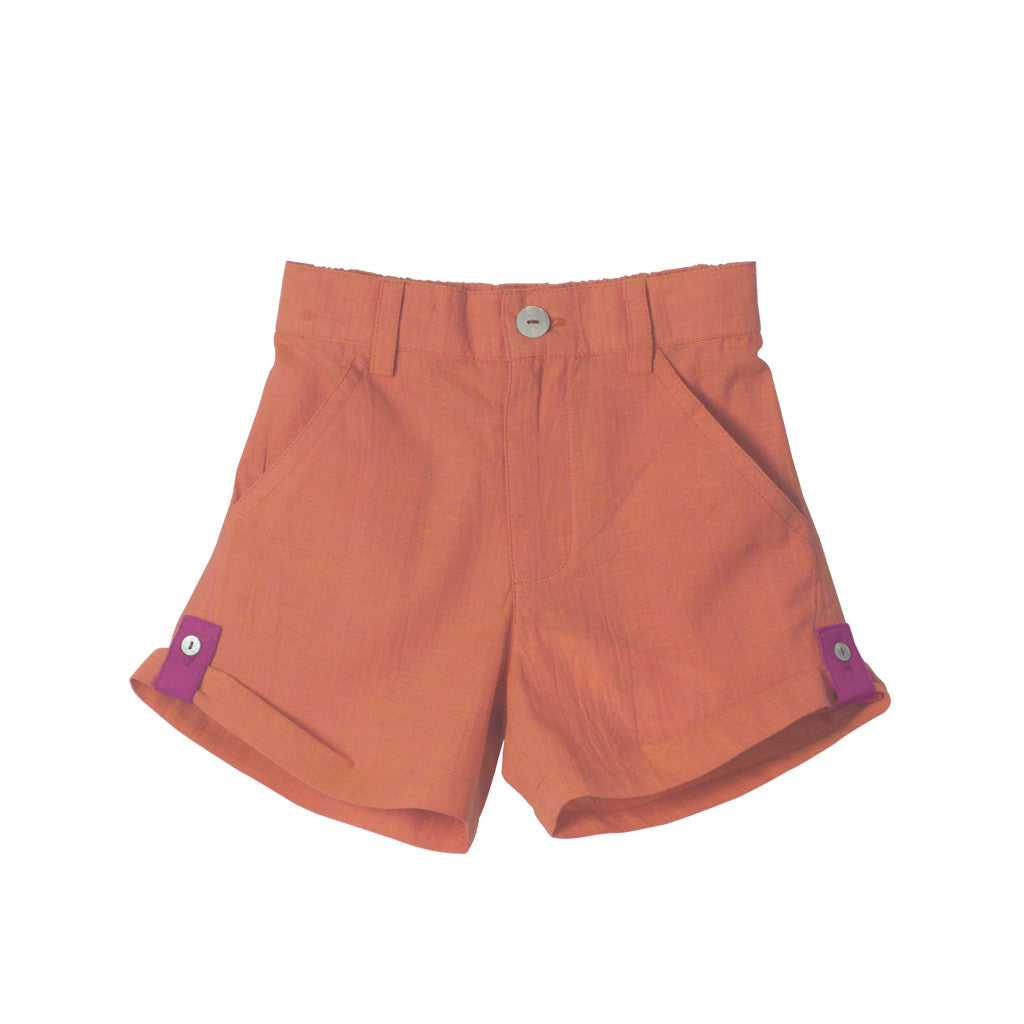 Orange Unisex Roll-up Shorts with Magenta Cuffs