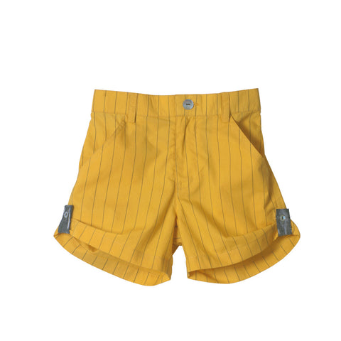 Striped Yellow Unisex Roll-up Shorts with Grey Cuffs