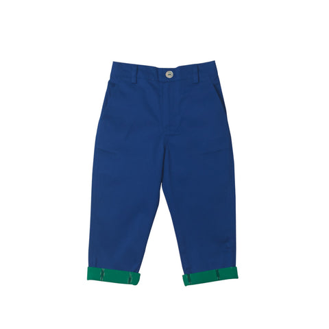 Stretchable Cobalt Trousers with Emerald Ikat roll-up