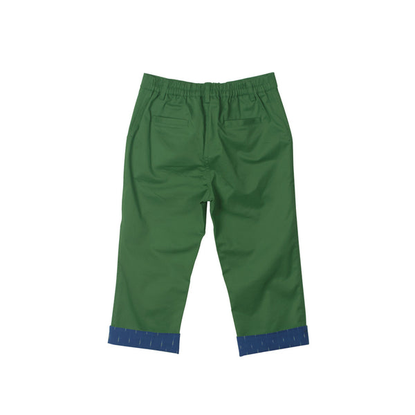 Stretchable Green Trousers with Cobalt Ikat roll-up