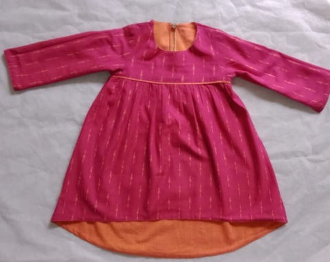 Reversible Hi-Lo Ikat Dress - Magenta & Orange