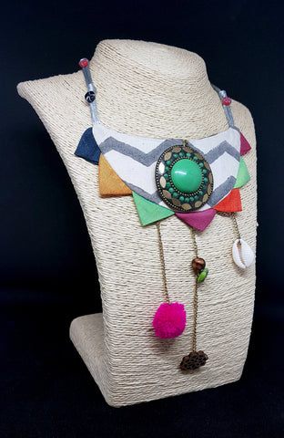 Fabric cones neck piece with beaded strip