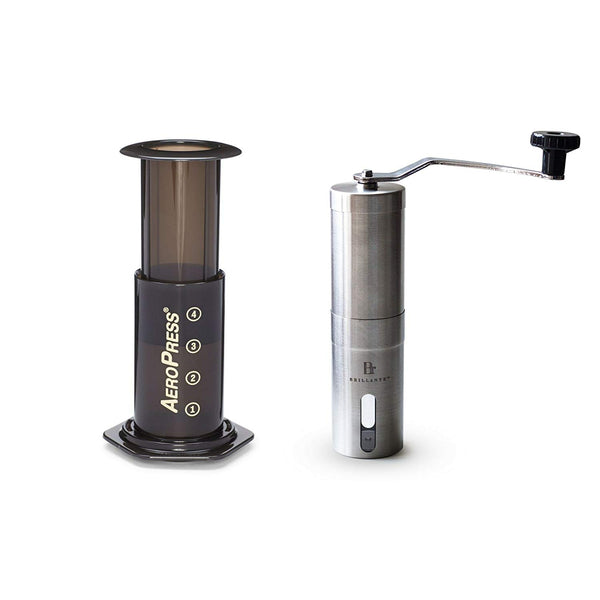 Aeropress and Brillante SS1 Manual Coffee Grinder Bundle