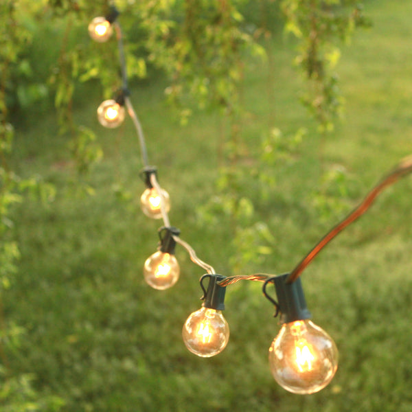 25' Outdoor String Lights by Brillante - Premium Quality G40 Globe String Lights - 25 Clear Bulbs, Green Wire, 2016 Model