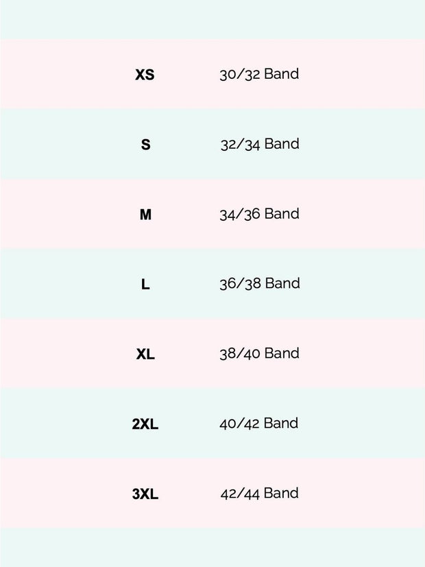 Image is of Lukafit's sports bra size chart
