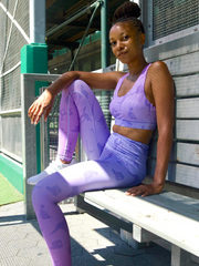 Lukafit Squatproof Legging Lavender Ombre Model in Baseball  Dugout