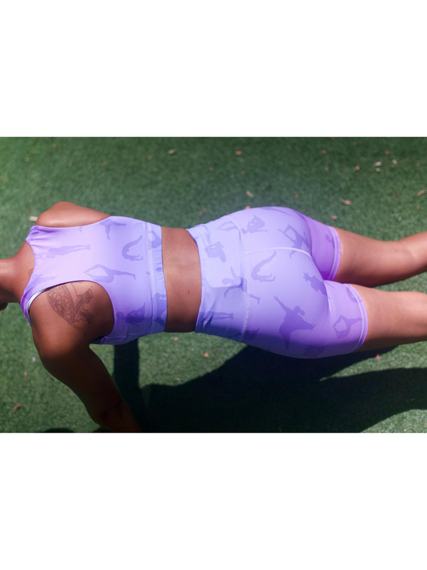 Lukafit Squatproof Biker Shorts Lavender Ombre Model Exercising Doing a Plank