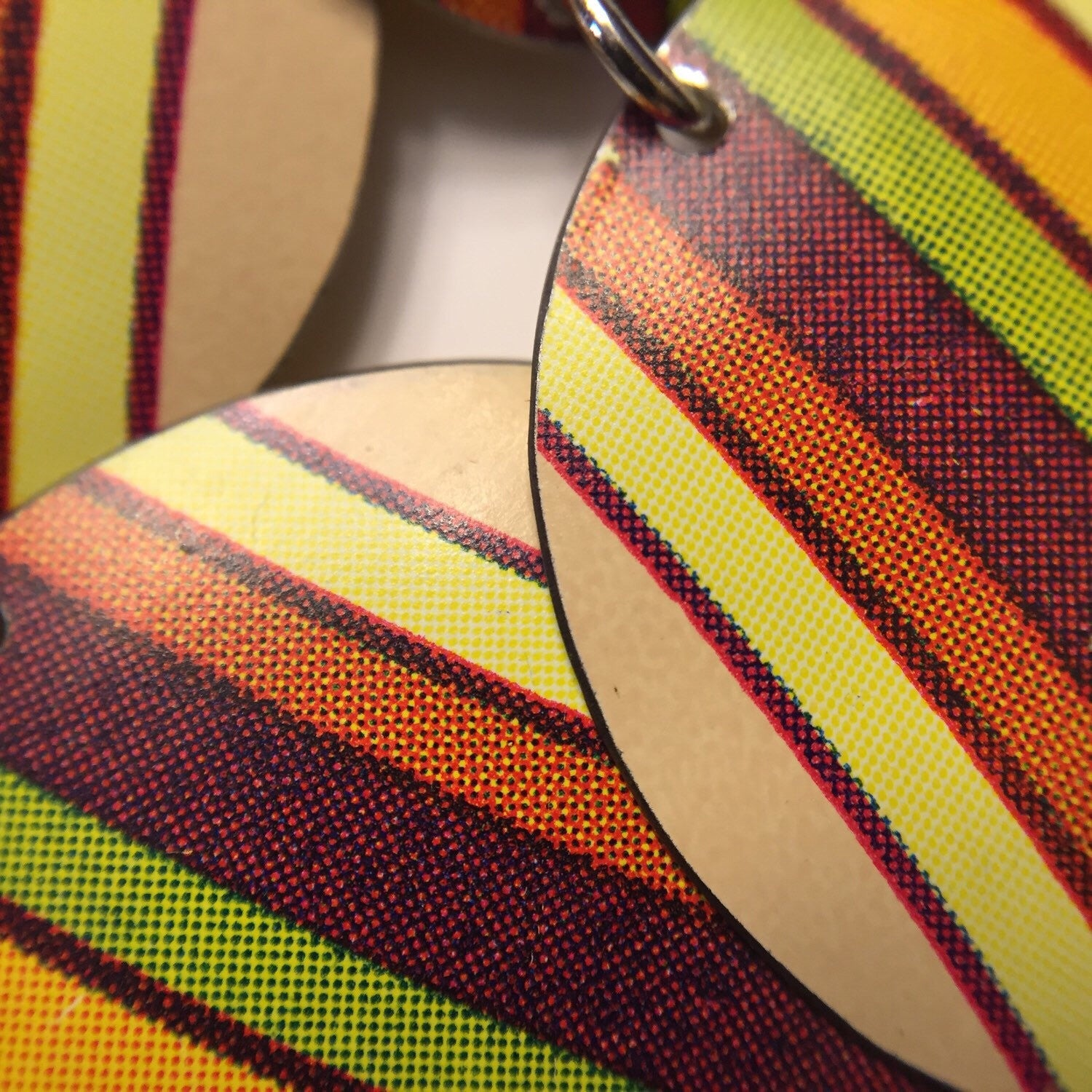 Recycled Tin Jewelry - Necklace Retro Color Stripes Zoomed image