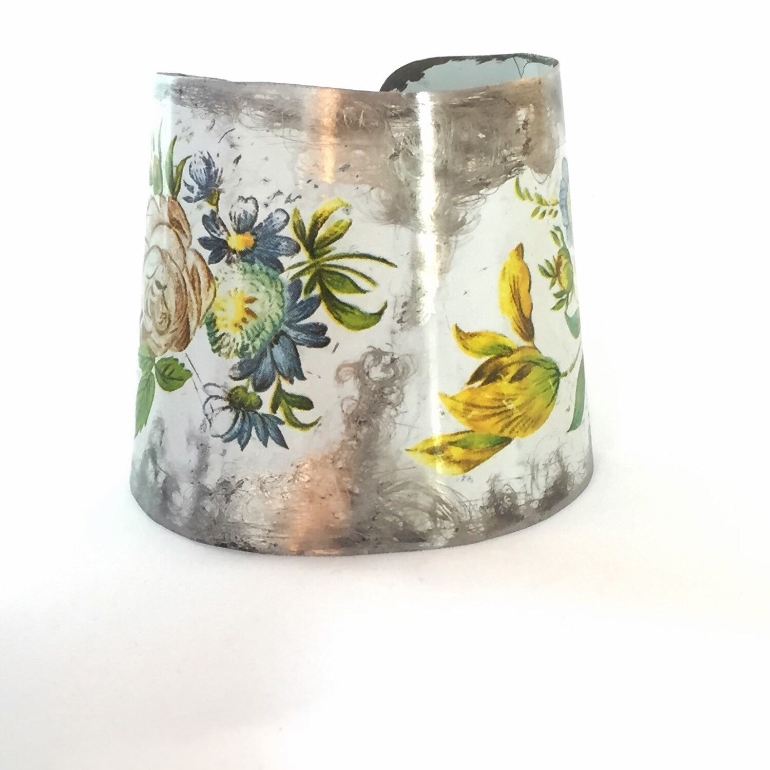 Recycled Vintage Tin Jewelry - Distressed Floral cuff Bracelet Image 3
