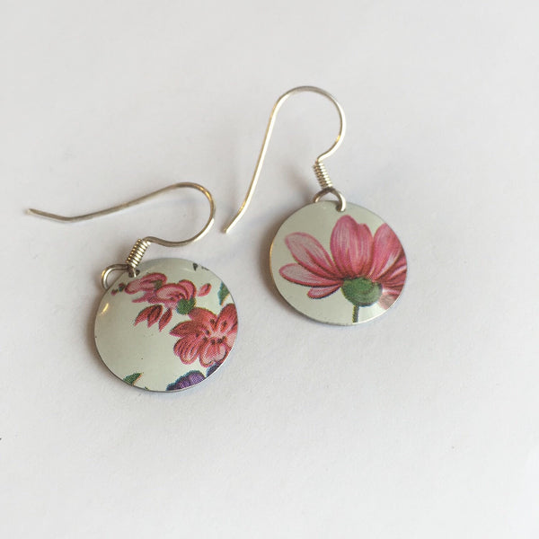 Vintage tin jewelry - shabby chic earrings