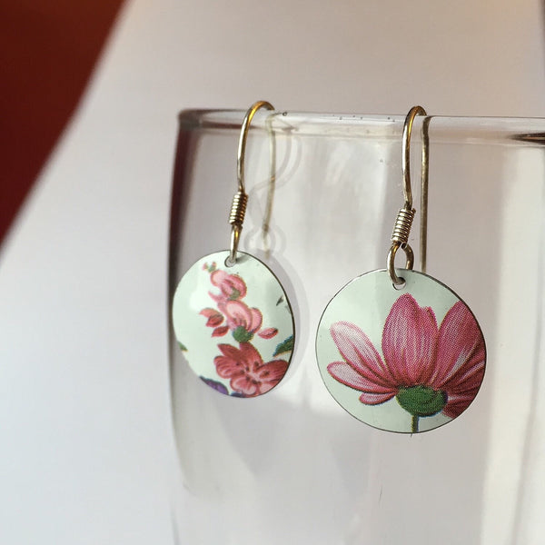 Tin jewelry earrings - pink flowers