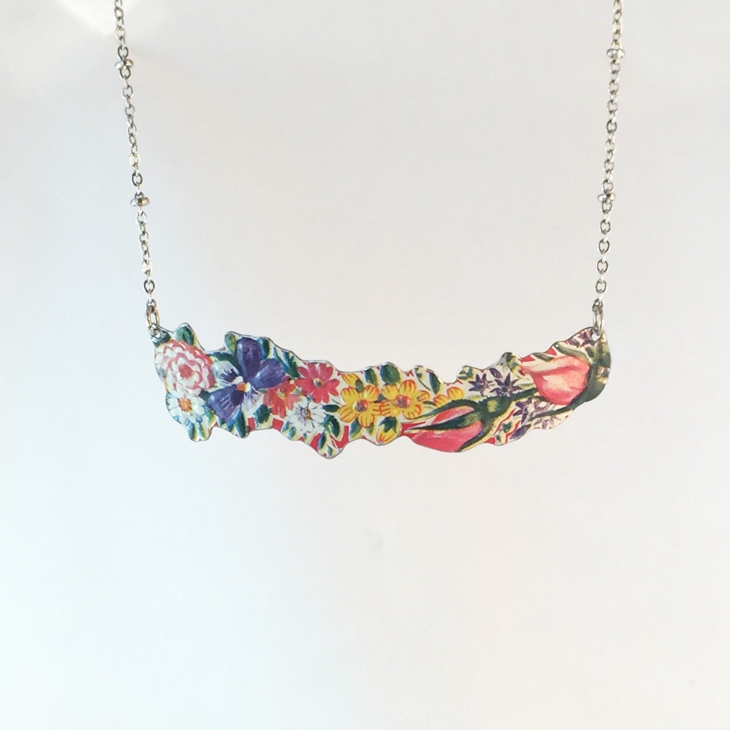 Women's Necklace Tin Jewelry - Vintage Flower Bar Necklace