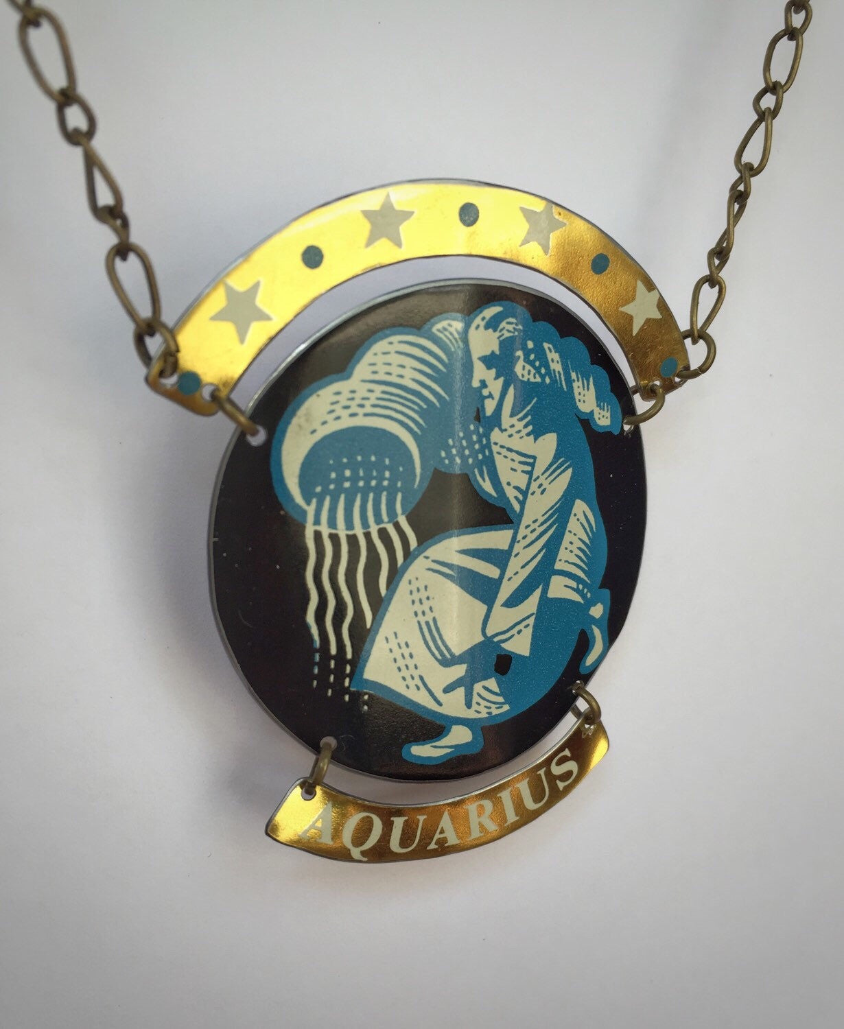 Tin Jewelry - Zodiac Aquarius Necklace - Recycled Vintage Tin angle image